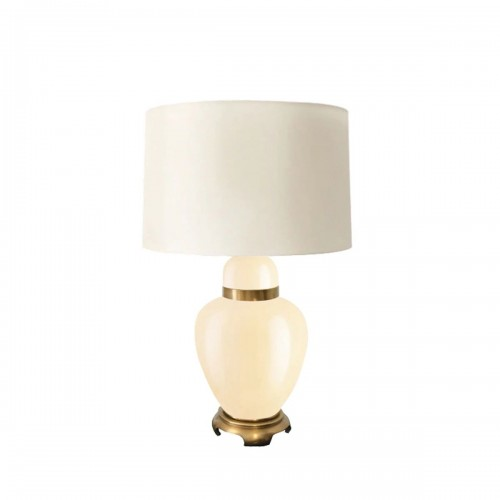 29 Inch Glass Urn Table Lamp with Drum Shade, Off White and Beige
