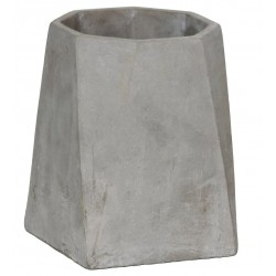 Cement Flower Pot with Flared Base and Octagonal Top, Large, Gray