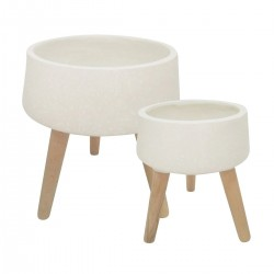 Ceramic Body Planter with Wooden Angled Legs, Set of Two, White and Brown