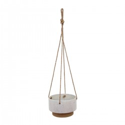 Ceramic Speckled Texture Planter with Attached Hanging Rope, White and Brown