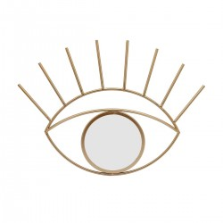 Contemporary Eye Design Metal Wall Decor with Round Mirror,Gold and Silver