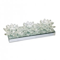 Crystal Triple Lotus Shape Tealight Holder with Mirror Base, Clear
