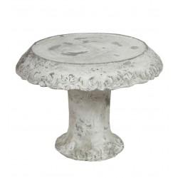 Decorative Cement Cake Plate with Pedestal Base, Large, White
