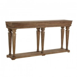 Traditional Style Wooden Console With One Open Bottom Shelf, Brown