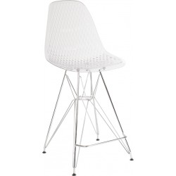 "26"" High Clear Acrylic Counter Height Stool with Chrome Legs"