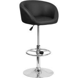 Contemporary Black Vinyl Adjustable Height Barstool with Barrel Back and Chrome Base