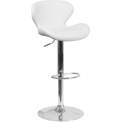 Contemporary White Vinyl Adjustable Height Barstool with Curved Back and Chrome Base