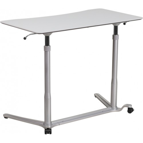 Sit-Down, Stand-Up Light Gray Computer Ergonomic Desk with 37.375''W Top (Adjustable Range 29'' - 40.75'')