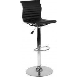 Madison Series Contemporary Black Vinyl Adjustable Height Barstool with Ribbed Back and Chrome Base