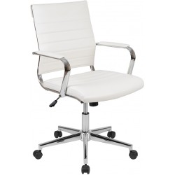 Mid-Back White LeatherSoft Contemporary Ribbed Executive Swivel Office Chair