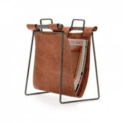 Leather and Iron Sling Magazine Stand