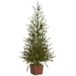 3' Alpine Natural Look Artificial Christmas Tree in Wood Planter with Pine Cones