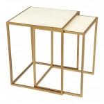 Kensington Nesting Tables Stone & Brass
